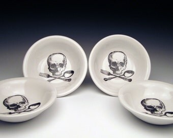 set of 4 skull DIPPING Bowls