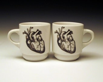 set of 2 anatomical heart ESPRESSO cups, cardiologist, doctor gift, halloween cup, valentine's mug, coffee cup, goth tableware, horror fan