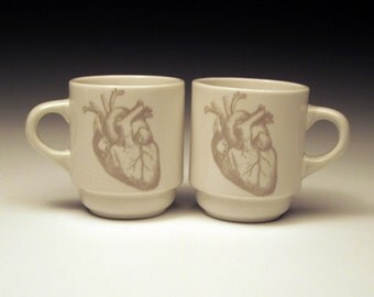 set of 2 anatomical heart Espresso Cups in GHOSTIE GREY