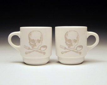 set of 2 skull and cross utensils Espresso cups in GHOSTIE GREY