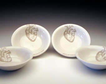 set of 4 anatomical heart DIPPING Bowls in GHOSTIE GREY