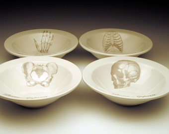BONE APPETIT cereal bowl Set of 4 skeletal images in Ghostie GREY
