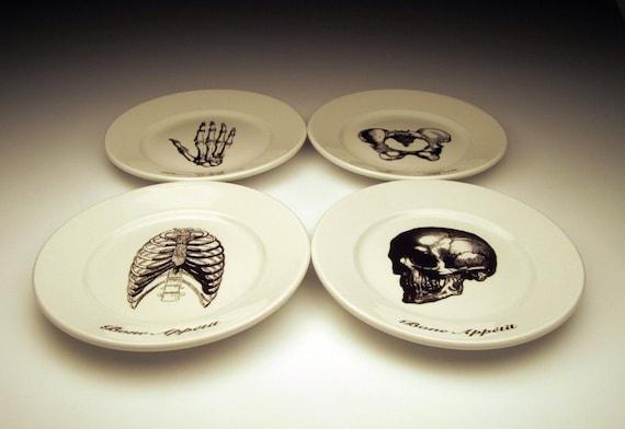Bone Appetit skeletal dessert plate set