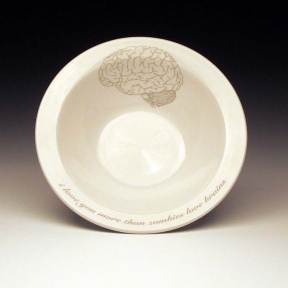 zombies love brains cereal Bowl in Ghostie Grey