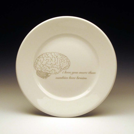zombies love brains dessert plate in GHOSTIE GREY