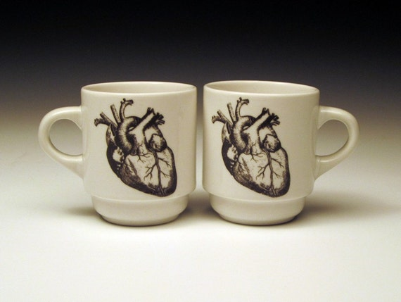 set of 2 anatomical heart ESPRESSO cups