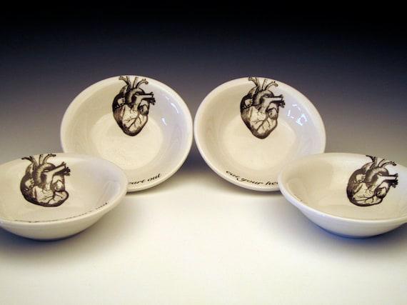 set of 4 anatomical heart DIPPING Bowls