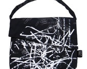 Asymmetrical Shoulder Satchel - Shredded Paper\/Paper Clips Design
