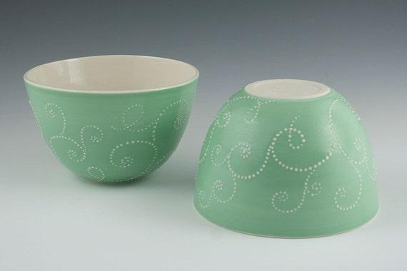 Bowl Green - Porcelain Honeysuckle Bowl in Mint Green