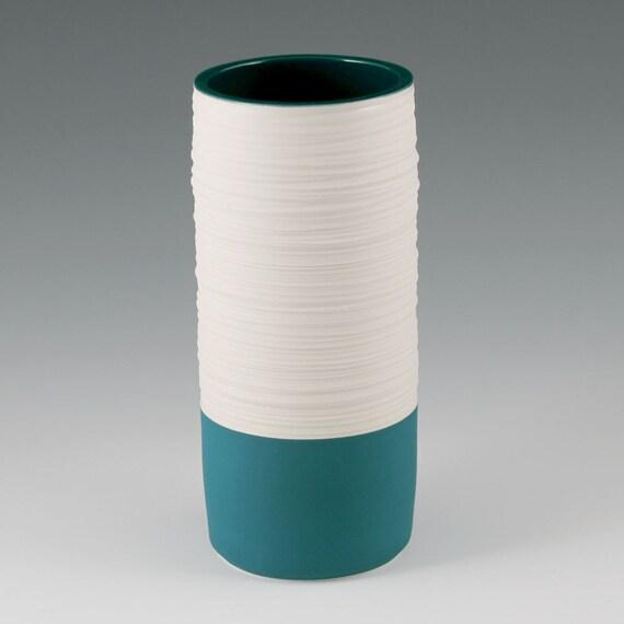 SALE Vase Aqua - Porcelain Groove Cylinder Vase in Aqua