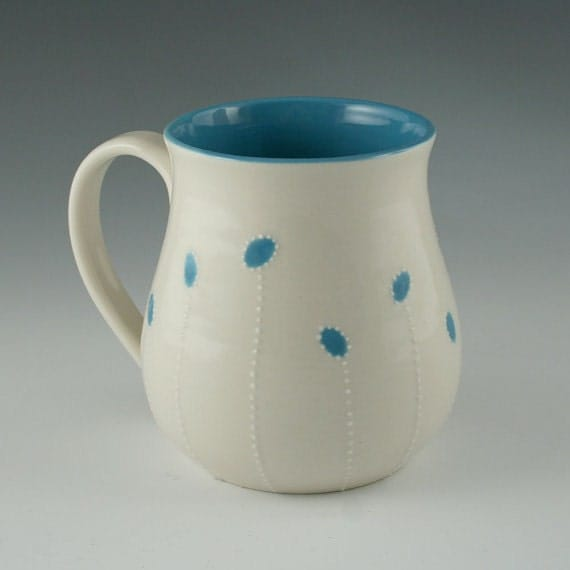 DISCOUNTED Porcelain Mug with Blue Accents- second