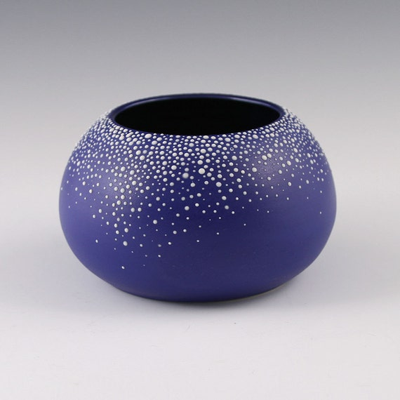 Vase Blue Orb - SALE Small Round Pebble Vase in Sapphire Blue
