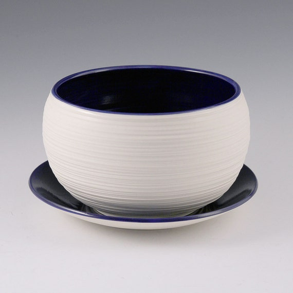 Planter Blue - Porcelain Groove Planter in Sapphire Blue