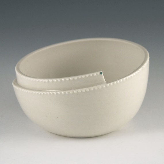 SALE Whirl Bowl with Pearl Slip Design