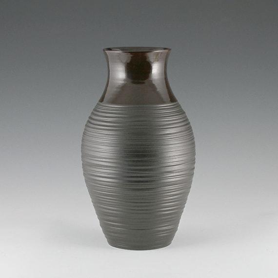 Vase Black -Tall Groove Vase in Satin Black- FREE SHIPPING