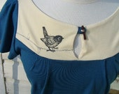 ORGANIC COTTON AND SOY  top  Bird and branch,  free shipping in North America