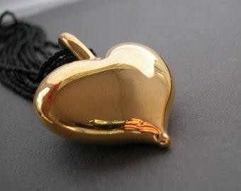 Venetian Murano Glass Gold  Heart Necklace