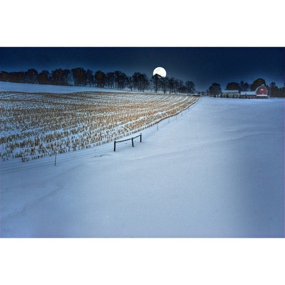 Moon Over Silver Lake Farm  --- original 8x12 fine art print from the award winning photographer