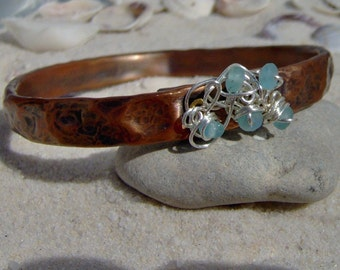 Copper Bangle,  Copper, Silver and Crystal Handmade SRA LETEAM Glassymom