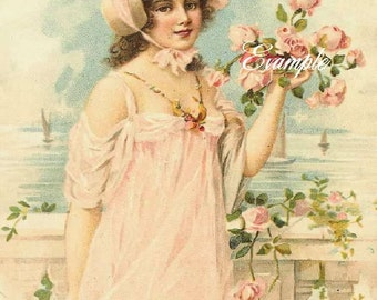 Girl in pink with all those pink roses, two identical 100 per cent cotton fabric blocks