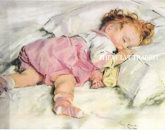 Fabric blocks MAUD TOUSEY FANGEL image of a sleeping baby two 5x7 inch 100 per cent cotton fabric blocks