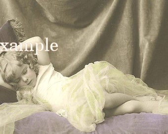 Digital Download, Little Girl Sleeping so precious,,Make tags,greeting cards,frame,great for altered art