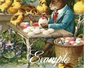 Easter Rabbit and chicks paint egss,Digital Download, vintage inspired,Use for greeting  cards, altered art,sewing