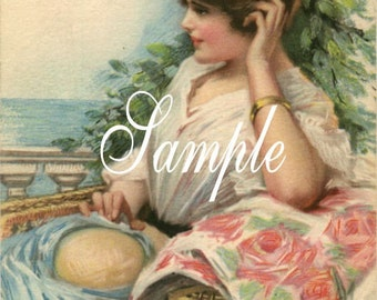 Digital Download,Beautiful girl with straw hat  vintage inspired* Greeting  cards,place cards, altered art,sewing,framing,tags and more