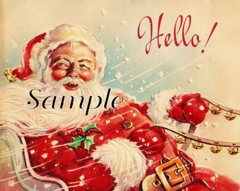 Christmas Santa Hello.INSTANT digital download, great for cards, decoupage, collage,sewing and so much more