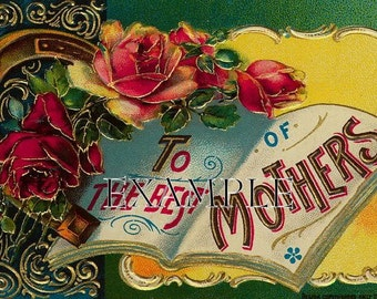 DIGITAL DOWNLOAD,Victorian mothers postcard, think  cards, decoupage, collage,sewing and so much more