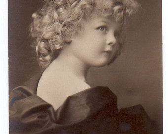 Fabric blocks,Little girl with curly hair, sepia, FOUR 3.5 x 5 inch fabric blocks identical,use for sewing, and much more