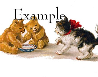 Digital download,BEARS drink the cats milk, great for cards, decoupage, collage,sewing and so much more