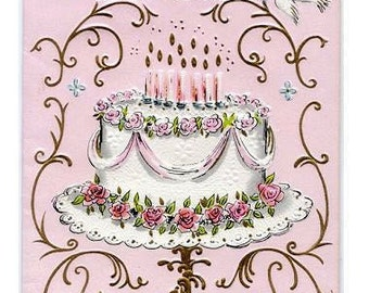 Digital download,Birthday Cake on a stand,Pinks,great for cards, decoupage, collage,sewing.ornaments