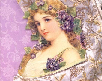 Fabric block. Large.  Gorgeous lady in Lavender.Quitling*Art*Frame*Sew*Decoupage*collage*fabric books*greeting cards