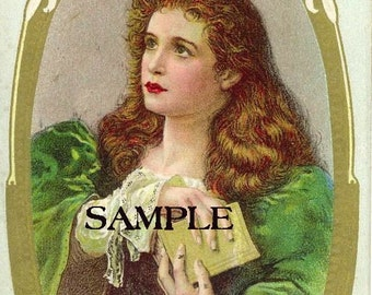 St. Patrick irish lass old postcard image reproduced into a 8 x 10 fabric block