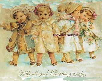 Christmas children.  2 5x7 cotton fabric blocks.  This is a great one.SALE SALE.Use like any fabric you sew with. Frame