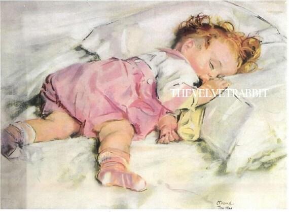 Fabric blocks MAUD TOUSEY FANGEL image of a sleeping baby One 8x10 inch 100 per cent cotton fabric blocks