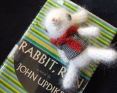 White French Angora Bunny Rabbit with Striped Boat tee and Red Scarf