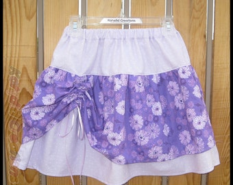 Purple Floral Ruched Skirt
