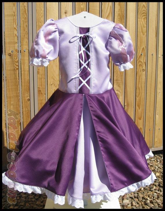 Rapunzel Inspired Satin Princess Dress Costume