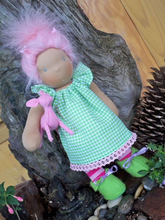 "Waldorf doll clothes for a 14"" doll  Sweet Green Deer Dress"