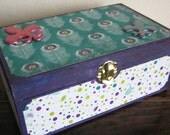 Large Peacock altered wood box