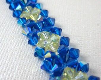 Super sparkle flower woven bracelet