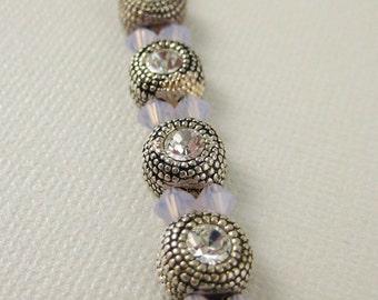 Lavender and Crystal Component Bracelet