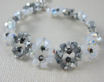 "Silver and White ""Snowflake"" Crystal Bracelet - Adjustable size"