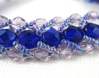 Cobalt and Lavender Caterpillar Adjustable Bracelet