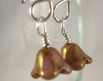 Pink/Gold Italian Glass Drop Earrings