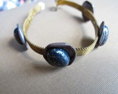 Vintage Belt Bracelet, Brass Mesh, Cabochon Stones 'Mod Mesh'