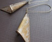 Geometric Earrings - Vintage Triangle Dangles - 1970s Jewelry - Aged Rustic Patina