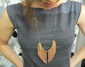 Bib Necklace Featured on FAB.COM Vintage Copper Fringe with Brass Point Charms and Copper Chain Handmade Jewelry by Glamourpuss Creations